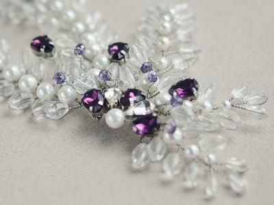 Свадебное украшение для волос из хрусталя и жемчуга майорка