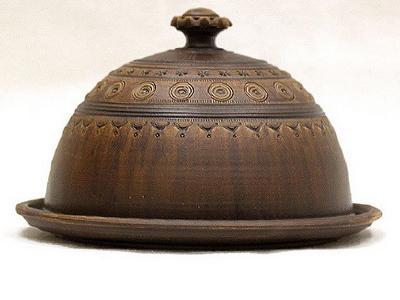 Глиняная блинница посуда ручной работы