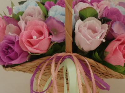 Корзина с розами из конфет.Подарок на