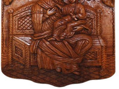 Деревянная Дева Мария с младенцем. Ручная работа Молдавского мастера
