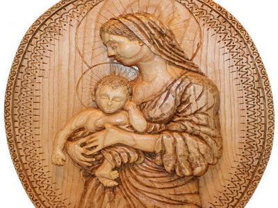 Деревянная икона Дева Мария с младенцем. Пано из многолетнего ясеня