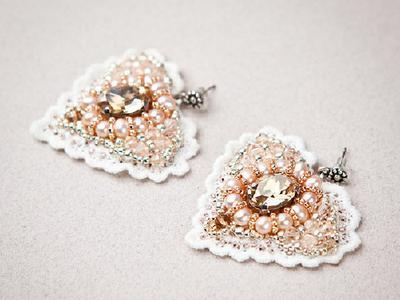 Кружевные серьги сердечки с кристаллами Swarovski
