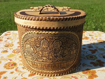 Короб ручной работы из березовой коры - handmade из бересты
