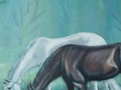 Картина маслом На водопое в туманном л