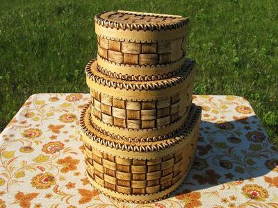 Набор берестяных ларцов - handmade из бересты в Молдове