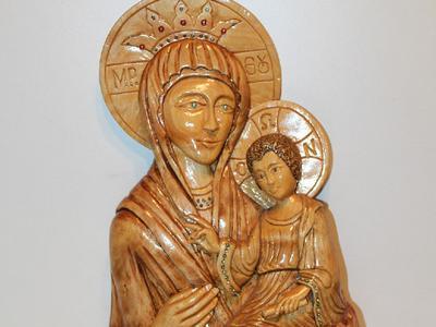 Статуя деревянная Дева Мария с исусом