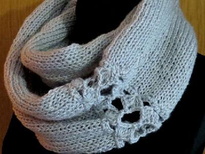 Шарф-снуд вязаный handmade с ажурной вставкой