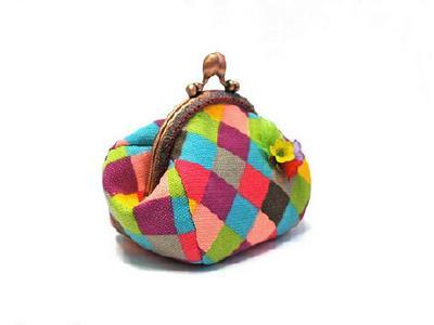 Гламурный кошелек для мелочи ручной работы из хлопка