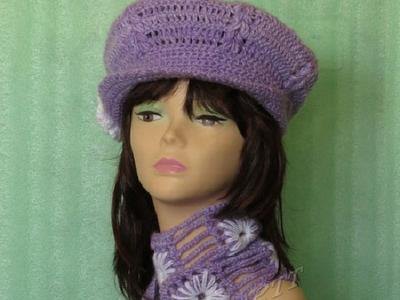 Вязаный комплект берет и кепка с шарфом. Подарок сделанный руками