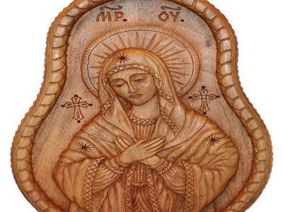 Деревянная икона Дева Мария ручной работы. Пано из ореха