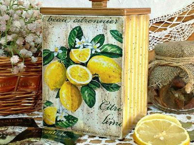 Сахарница Сочные лимончики декупаж