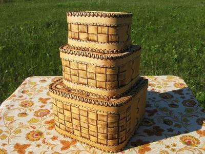 Набор ларцов из березовой коры  изделия из бересты ручной работы