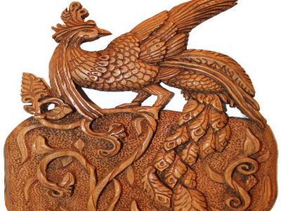 Птица Феникс из дерева. Скульптура пано ручной работы