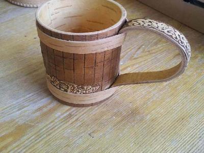 Сувенирная кружка ручной работы из бересты